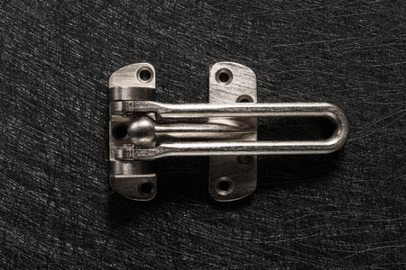 studio shoot of top view stainless steel safety latch Banco de Imagens