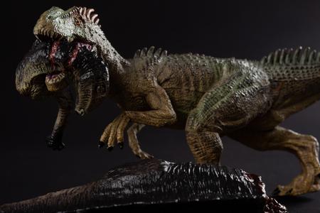 allosaurus biting a dinosaur body on dark background close up
