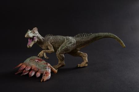 allosaurus with a stegosaurus body nearby on dark background Stock Photo