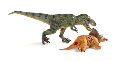 tyrannosaurus with a triceratops body nearby on white background