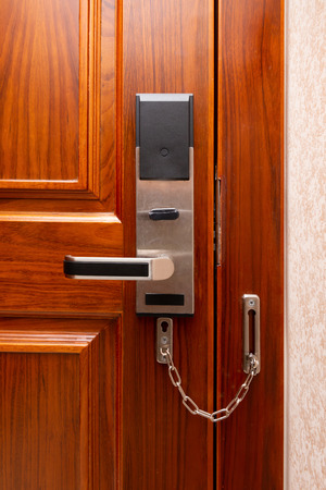 electric door locked with stainless steel safety latch