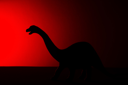 Diplodocus shadow with red light in dark