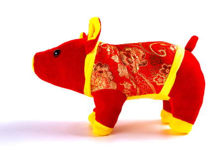 Chinese style pig plush toy for the new year 2019 Archivio Fotografico - 115535521