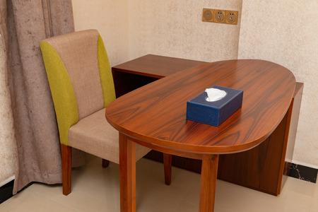 desk in a hotel room as working area Banco de Imagens