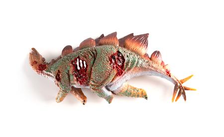 Stegosaurus dead body on a white background