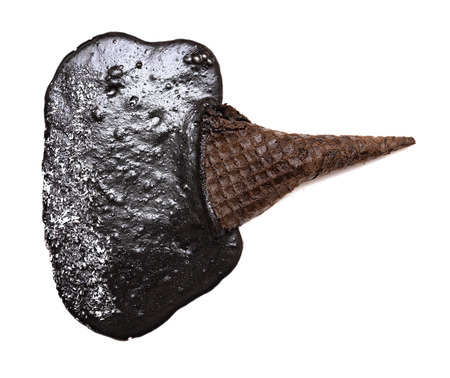 top view chocolate flavor ice cream cone with shredded coconut melted on white background Stockfoto