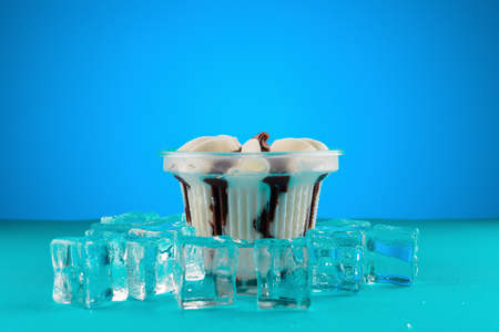 backlit cup of ice cream and ice cubes on blue background Reklamní fotografie