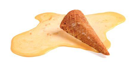 Mango flavor ice cream melting on white background