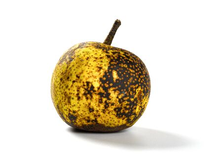 overripe pear on a white background