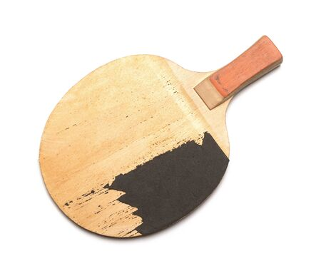 old table tennis racket on a white background