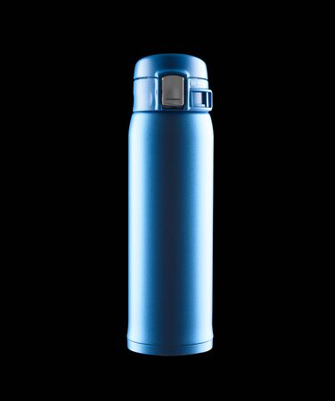 blue vacuum tumbler with safety lock on black background