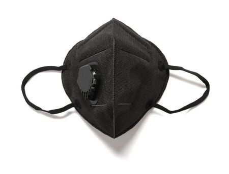 Professional black respirator for children on white background