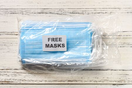 pack of free masks on a table