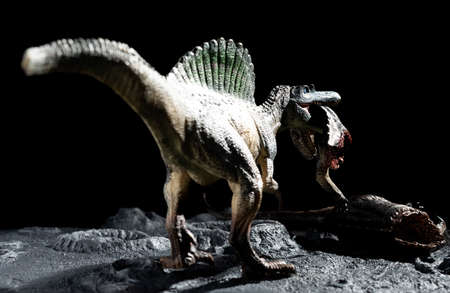 spinosaurus bitting a tenontosaurus body on a ground with craters Reklamní fotografie