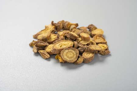 side view herb medicine HuangQin or Baikal Skullcap Root or Scutellariae Radix
