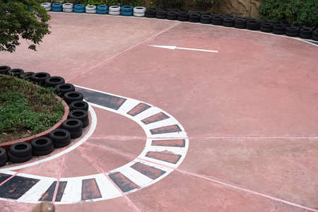 curved racetrack in the outdoor horizontal composition