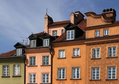 Colorful building in the old town of Warsaw, Poland.