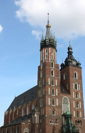 Side view of the St. Marys church in the old town of Krakow,Poland.Shot on a sunny summers day. Stock Photo
