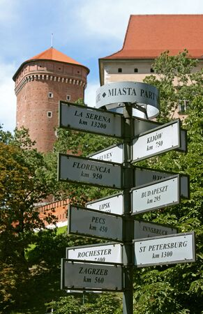 major: Signposts showing distances to major European cities from Krakow, Poland.The  shows a part of the Wawel castle.