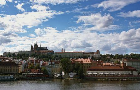 A view of the Prague skyline from the Vltava river.