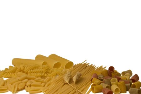 Variety of pasta isolated on white. Stock Photo