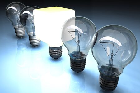 Illustration of a row of lightbulbs with a squared one lit. illustration