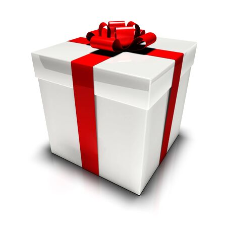 Illustration of gift box with a red ribbon and bow isolated on white.