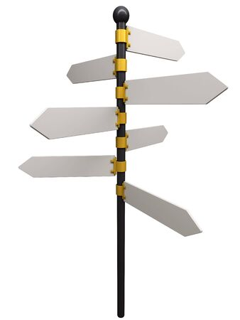 Illustration of an empty signpost isolated on white.