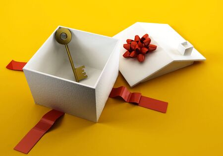 An illustration of a white gift box in the form of a house, open, with a golden key inside.