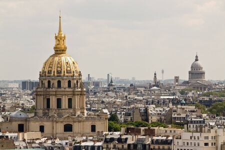 Les Invalides building in Paris, France against the city skyline. Stock Photo