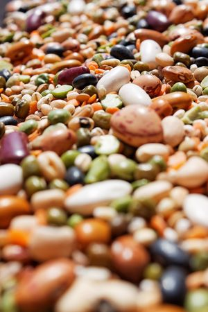 A close up of mixed beans with selective focus