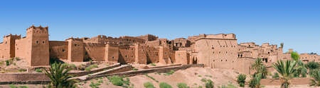 A panorama of a Moroccan kasbah.