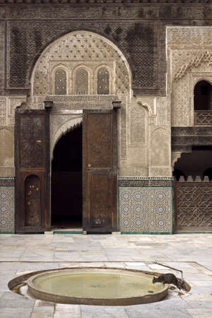 A view of the medievel Moroccan madrasa (madersa) in the imperial city of Fez.