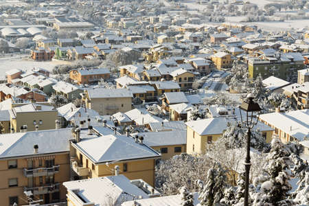 A snow covered Italian town. Stock Photo