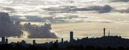 johannesburg: Silhouette of the Johannesburg skyline.