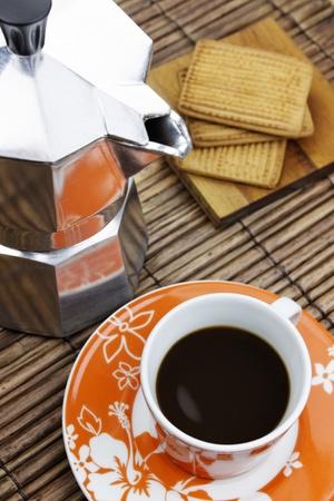 Italian mocha coffee maker with an espresso. photo