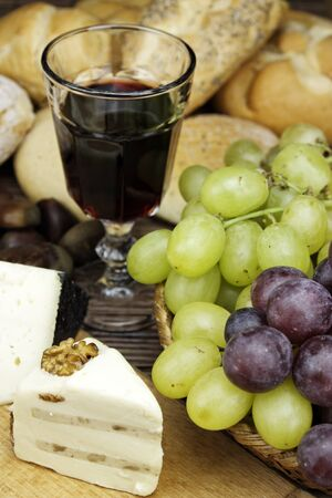 Red wine with some olives,cheese and bread an ideal appetizer.