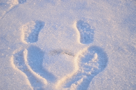 long lake: Dalian, China - February 15, 2013 My daughter and I have left footprints on the snow on the surface of Long lake in Dalian of China on February 15, 2013   Editorial