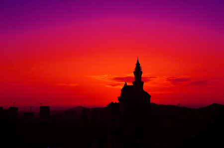 solemnity: The castle hotel stand in the sunset in Dalian of China . Editorial