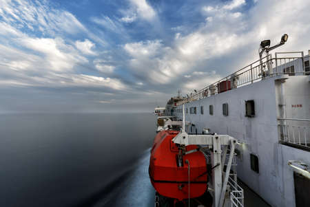 trafic: sailing on the sea in the morning Stock Photo