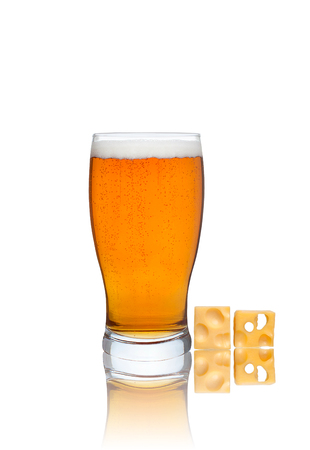 real ale: Glass of beer and cheese isolated on white background