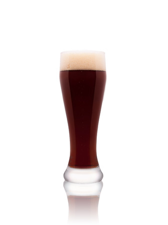 real ale: Glass of dark beer isolated on a white background