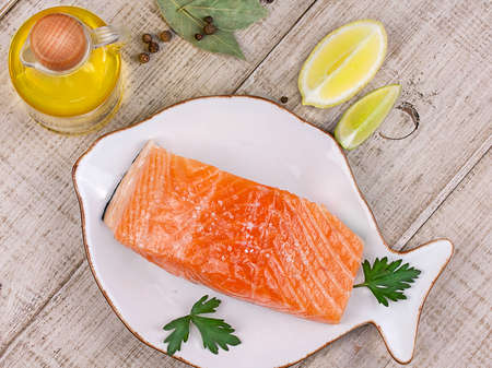 Fresh salmon with spices photo