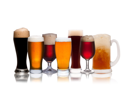 real ale: Set of various beer isolated on a white background Stock Photo