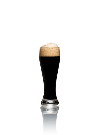 real ale: Glass of stout beer isolated on a white background