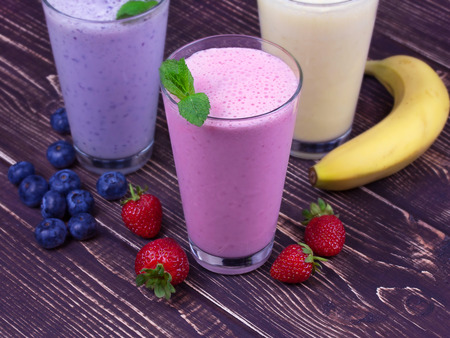 Strawberry milkshakes 免版税图像