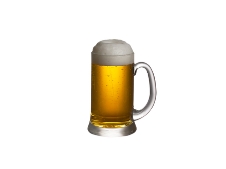 real ale: Glass of beer isolated on a white background