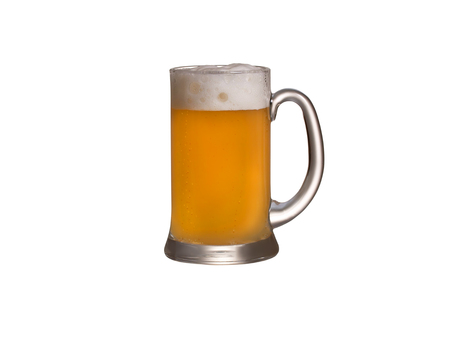 real ale: Glass of wheat beer isolated on a white background
