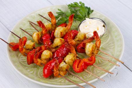 Shrimp Kebabs 免版税图像