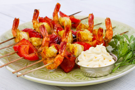 Shrimp Kebabs Stock Photo